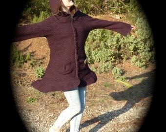 jacket, hooded Elf plum wool