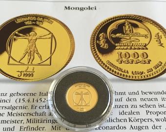 1999 Mongolia Mongolei 1000 TOGROG 1/25 OZ 999.9 Gold - Leonardo Da Vinci PP CoA