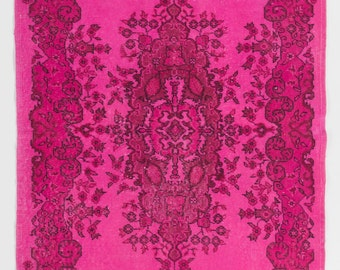 4x7.1 Ft Hot Fuchsia Pink color OverDyed Vintage Turkish Rug. Ideal for both residential and commercial interiors. Wool & Cotton blend  Y458
