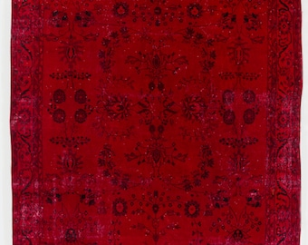 8x11 Ft Burgundy Red color OverDyed Vintage Turkish Rug. Ideal for both residential and commercial interiors. Wool & Cotton blend. Y401