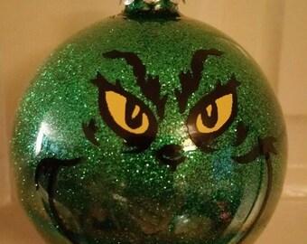 Grinch Christmas Tree Bauble - Tree Decoration - Green Glitter Bauble - Grinchmas - Christmas Decoration - Tree ornament