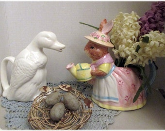 Duck Teapot, Vintage and  Rabbit  Teapot--Two Teapots for One Price--Kitchen  Decor and  Display