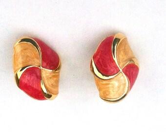 Vintage Pink and Cream enamel earrings- clip.
