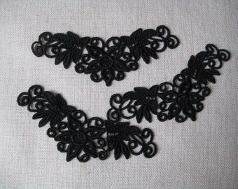 Lace Applique Black Venice Lace for Necklaces, Jewelry Supplies, Altered Couture, Aletered Art, Costume