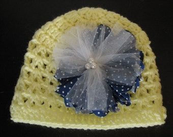 Baby Girl hat with fabric flower - ( 6 - 12 months)
