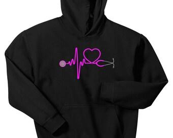Heartbeat Stethoscope Hoodie Sweatshirt Nurse Doctor RN CNA LVN Medical