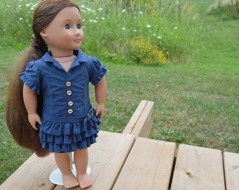 18 Doll Clothes - Blue Dress & Belt - Fits American Girl Doll