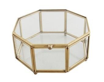 Phoebe Octagon Brass Glass Display Box