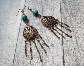 Turquoise Earrings-Boho Earrings-Bohemian Earrings-Dangle Earrings-Boho Chic Earrings-Ethnic Earrings-Gemstone Earrings-Turquoise Jewelry