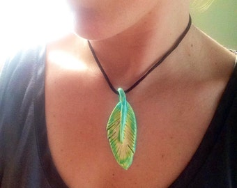 Turquoise and yellow ceramic feather pendant