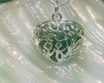 1517N Heart Shaped Locket with Sea Glass