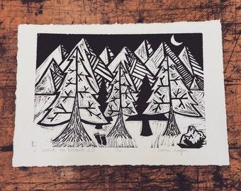 bigfoot woodblock print