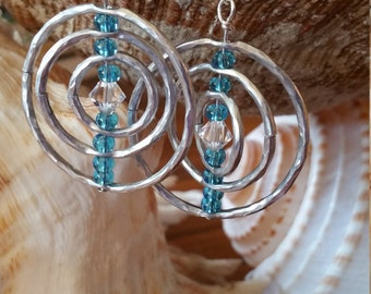 Dangle Drop Hammered Earring Swarovski Crystal & Blue Beads