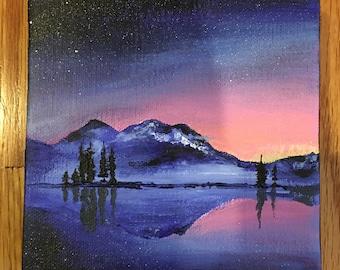 "Neon Sunset - Acrylic Painting 5""x5"""