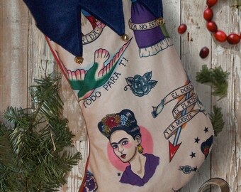 Frida Kahlo Mexican Day of the Dead Christmas Stocking. Old School Tattoo Print