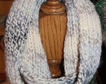 Ombre Blue and Grey Cowl Infinity Scarf