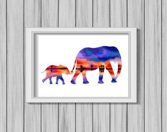Tropical Elephant Silhouettes Print DIGITAL DOWNLOAD