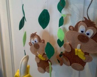 Felt Monkey and Banana Baby Mobile