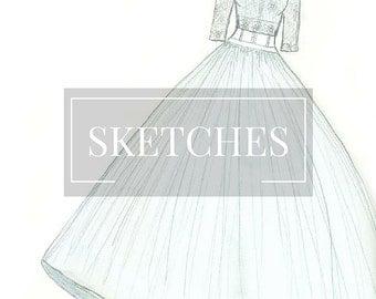 Wedding Dress Bridal Gown Sketch Custom