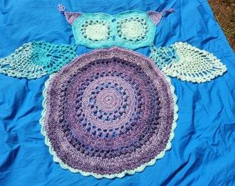 Owl rug, owl carpet, crochet owl rug, crochet owl carpet