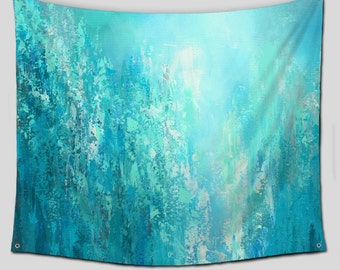 Wall Tapestry, Abstract Art Hanging, Teal aqua Turquoise blue decor, Dorm room, Tapestries, Boho Wall art, Contemporary, Outdoor Patio decor