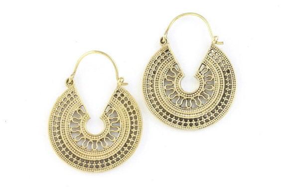 Circle Mandala Earrings, Tribal Brass Earrings, Festival Earrings, Gypsy Earrings, Ethnic Earrings, Mehndi Brass Earrings
