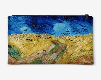 "Cosmetic bag, Pouch, Pencil Case, Purse with painting of Van Gogh ""Wheatfield with Crows"" gift for her gift ideas"