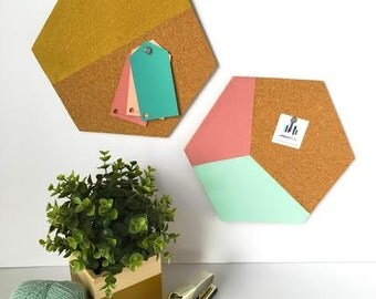 Hexagon Cork Boards - Custom Dorm Room Decor - Custom Color Cork Boards - Back to School - College Student Gift - Office Organization