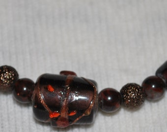 Beaded Necklace Brown and Bronze Lampwork Glass Beads