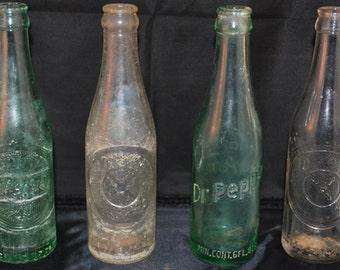 Vintage Glass Soda Bottles Dr. Pepper Bottles