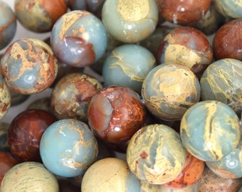 "12mm brown blue variscite round beads 16"" strand 35693"