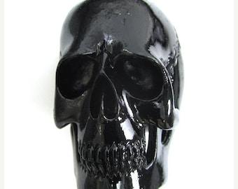 40% CLEARANCE 50mm Acrylic resin skull pendant bead black 34530