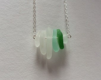 Aqua emerald sliver sea glass mermaid necklace FREE SHIPPING