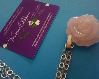 Pink quartz & Silver 925 pendant necklace