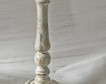 Large candle holder shabby look with gold leaf