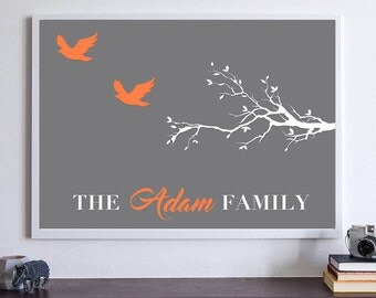Personalised Family Tree  Branch Art Wall Print Poster Art A2 A3 A4 A5