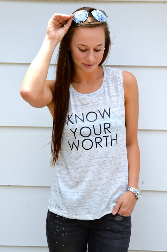 Know Your Worth Tank: White Marble