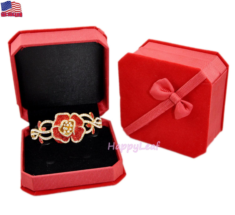 Deluxe fine velvet watch bangle bracelet jewelry gift box red for Red velvet jewelry gift boxes