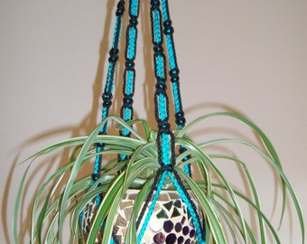 Handcrafted Unique Black and turquoise Macrame  Plant Hanger / can be used Indooors or outdoors /  pool side , porch, patio