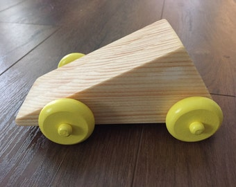 Geometric Shape Wooden Car with Yellow Wheels
