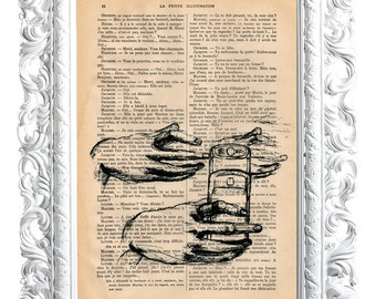 Hand with telephone nº1. Print on French publication of illustration. 28x19cm.