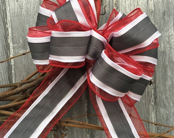Wreath Bow, Decorative Bow, Large Gift Bow, Chair Bow, Pew Bow, Wired Ribbon Bow, Door Bow, Ohio State
