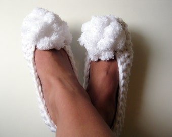 WHITE Slippers, Bridal Slippers, Wedding Slippers, Knitted Bridal Shoes, Ballet Flats, Wedding Dance Flats, Bridesmaid Gift, Gift for Her