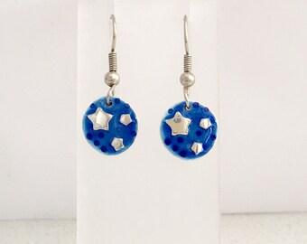 Starry night drop earrings in blue enamelled sterling silver