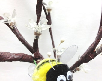 6 pcs Pompom Bumble Bees Black&yellow W/googly Eyes Craft Spring Easter Floral Picks