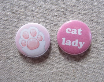 Cat Lady Paw 2-pack pinback button badge set
