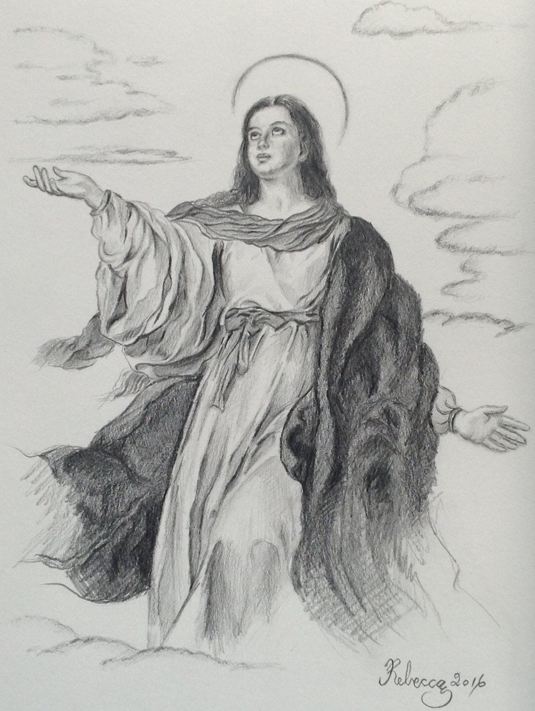 100% Handmade Mother Mary Pencil Drawing Assumption of Mary