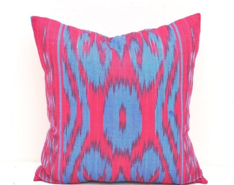 Decorative Pillow Cover Red  Blue - Pillow Cover 16 x 16 - Red Blue Ikat Pillow - Throw Pillow -Accent Pillow - Nursery Pillow - Pillow Case
