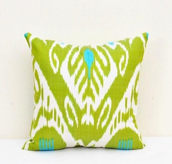 Green Ikat Throw Pillow : Green Ikat Pillow Cover-Ikat Pillows-Silk Ikat Pillow