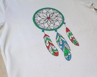 "T-shirt with hand-made print ""Dreamcatcher"""